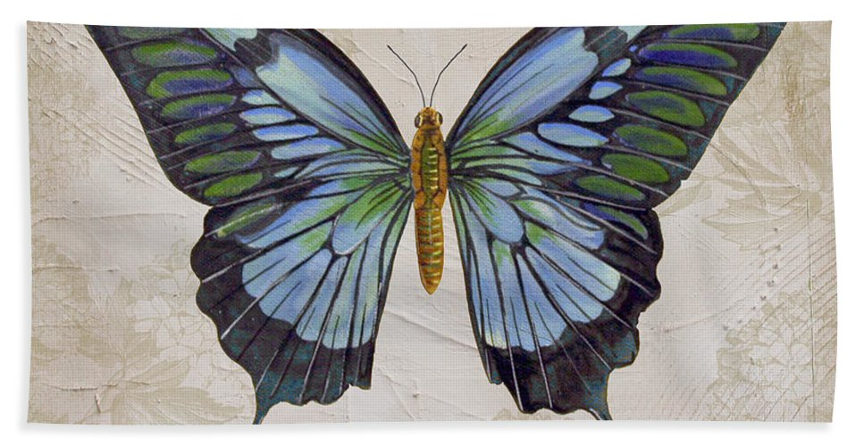 Beautiful Bath Sheet featuring the painting Bleu Papillon-a by Jean Plout