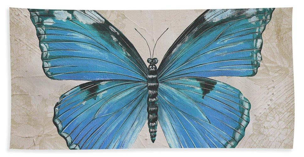 Beautiful Bath Sheet featuring the painting Bleu Papillon-b by Jean Plout