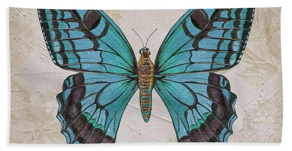 Beautiful Bath Sheet featuring the painting Bleu Papillon-c by Jean Plout