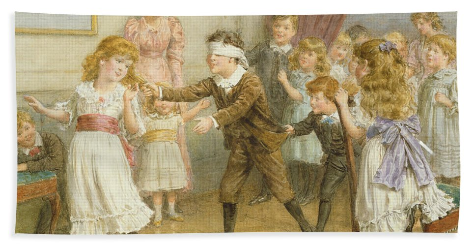 19th; 20th; Edwardian; Children; Playing; Game; Party; Governess; Nanny; Male; Female; Young Boy; Young Girl; Catching; Chasing; Pulling Hair; Excited; Fun; Blindfold; Blindfolded Hand Towel featuring the painting Blind Mans Buff by George Goodwin Kilburne