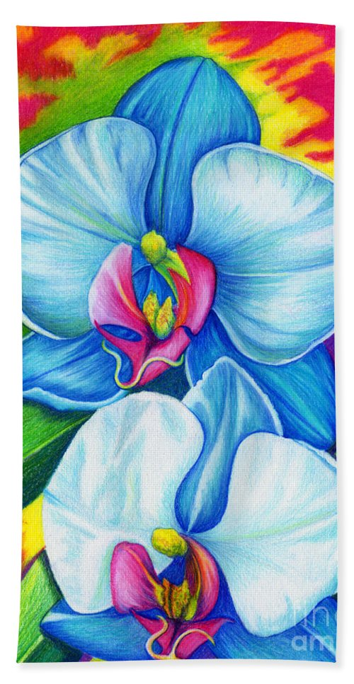 Bliss Bath Sheet featuring the painting Bliss by Nancy Cupp