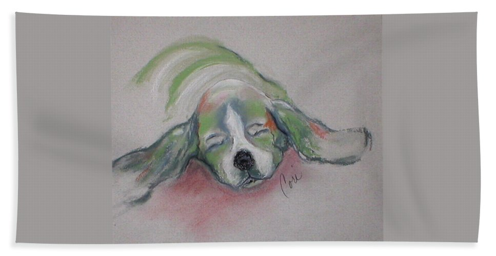 Basset Hound Hand Towel featuring the drawing Blissful Dreams IIi by Cori Solomon