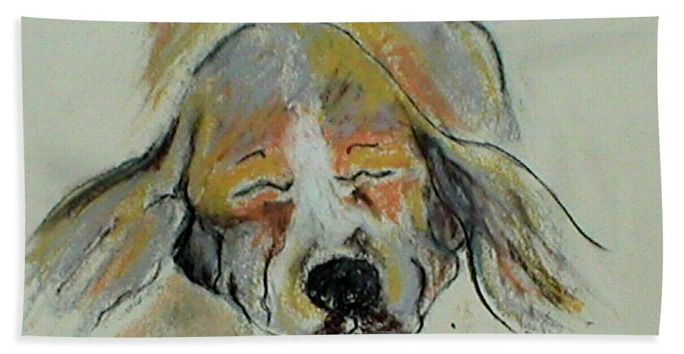 Basset Hound Bath Sheet featuring the drawing Blissful Dreams Iv by Cori Solomon
