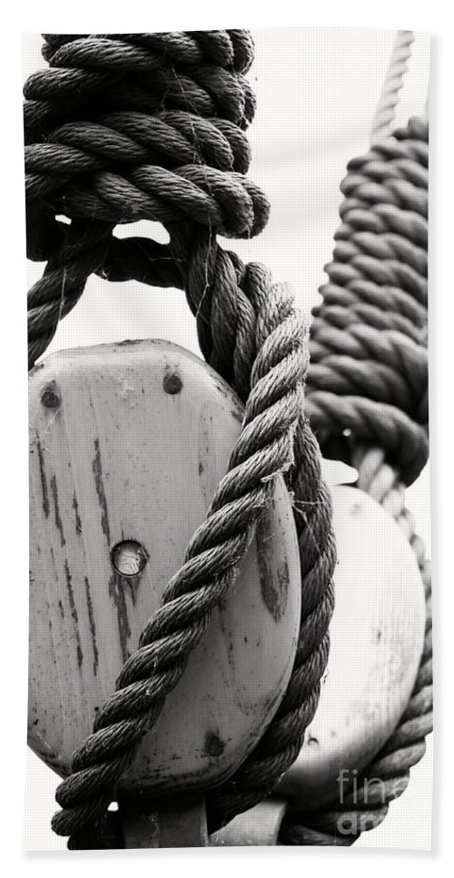 Black And White Bath Sheet featuring the photograph Block And Tackle Of Old Sailing Ship by Jan Brons