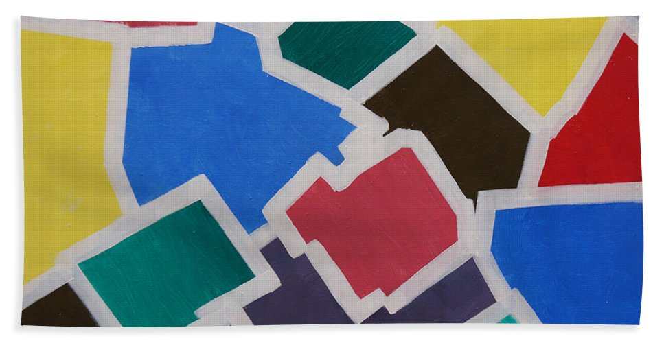 Acrylic Bath Sheet featuring the painting Outside the Box by Sergey Bezhinets