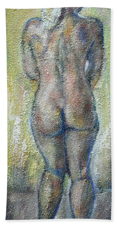 Raija Merila Hand Towel featuring the painting Blond's Back by Raija Merila