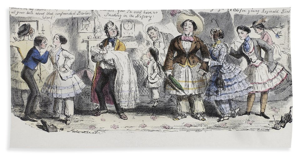 1851 Hand Towel featuring the painting Bloomer Cartoon, C1851 by Granger