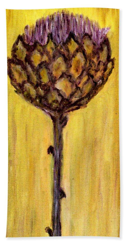 Augusta Stylianou Hand Towel featuring the painting Blooming Artichoke - Cynara Cardunculus by Augusta Stylianou