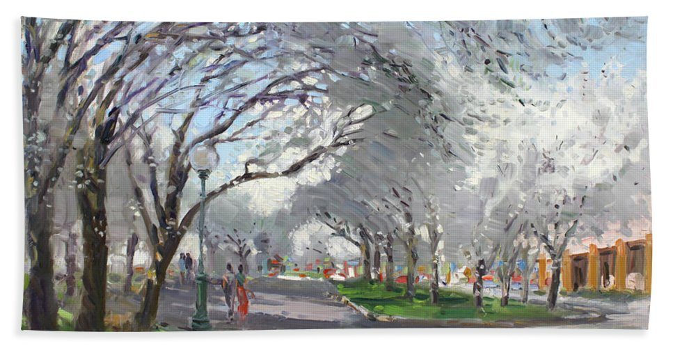 Blooming Trees Bath Towel featuring the painting Blooming In Niagara Park by Ylli Haruni