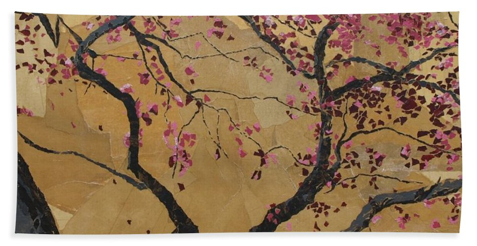 Tree Bath Towel featuring the painting Blooming Prairie Fire by Leah Tomaino