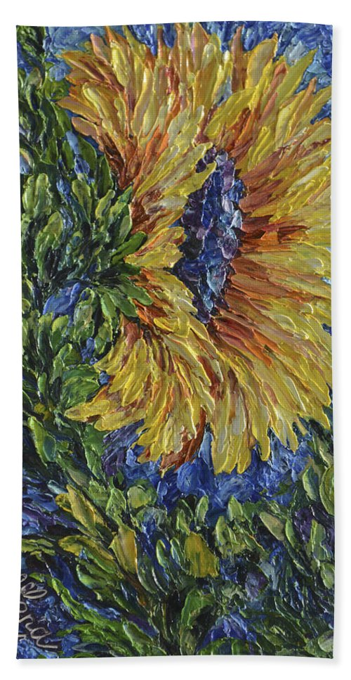 Art Bath Sheet featuring the painting Blooming Sunflower by OLena Art Brand