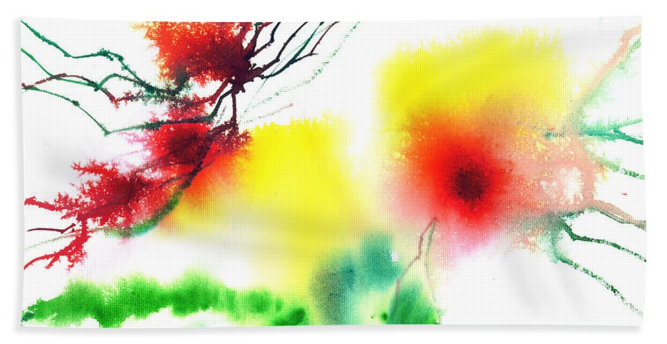 Nature Hand Towel featuring the painting Blooms 3 by Anil Nene