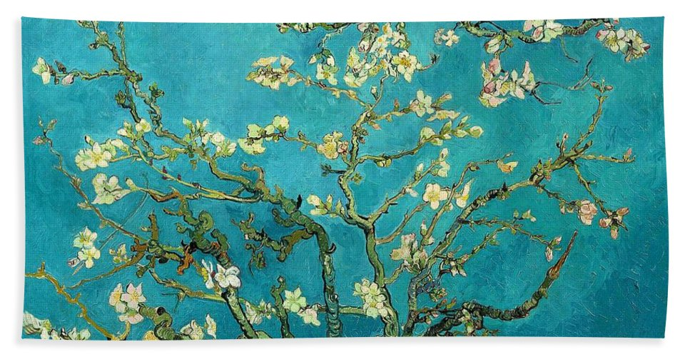 Van Gogh Hand Towel featuring the painting Blossoming Almond Tree by Vincent Van Gogh