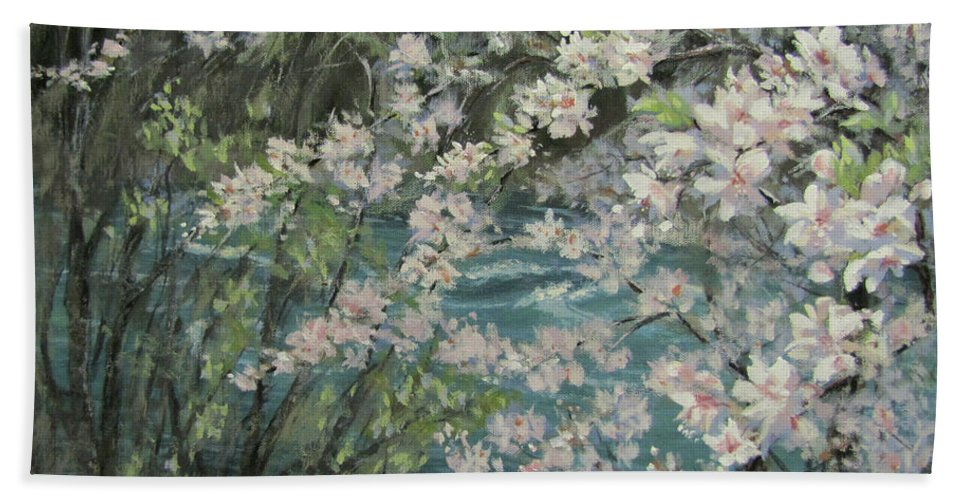 Spring Bath Sheet featuring the painting Blossoming River by Karen Ilari