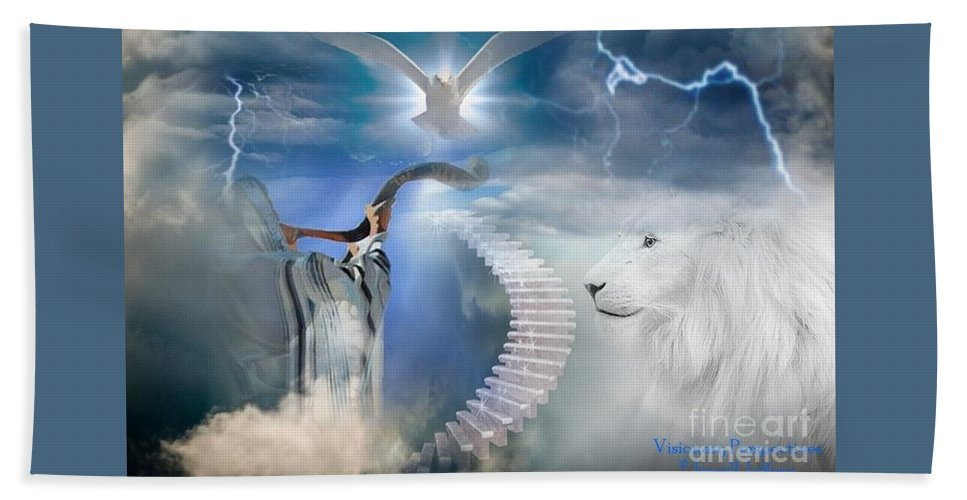 Trumpet Bath Sheet featuring the digital art Blow The Trumpet In Zion by Jewell McChesney