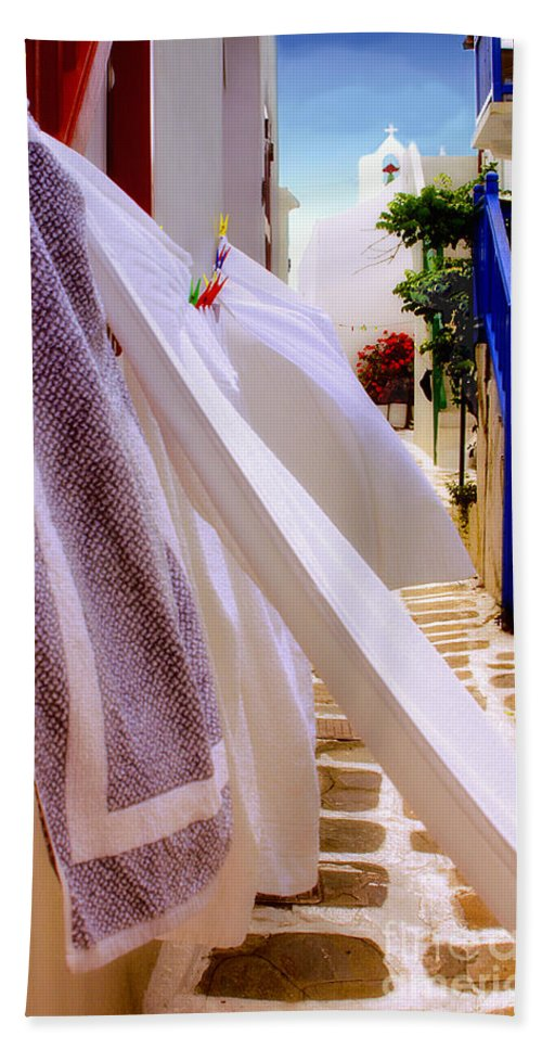 Mykonos Bath Towel featuring the photograph Blowing In The Wind by Madeline Ellis