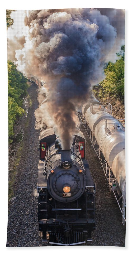 Train Hand Towel featuring the photograph Blowing Smoke by Keith Allen