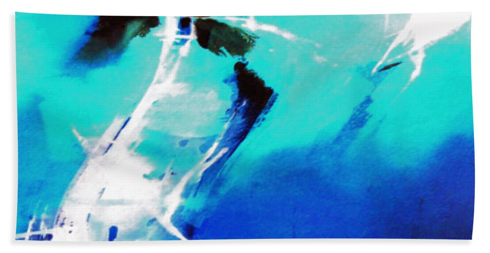 Abstract Bath Towel featuring the painting Blue Abstract by Anil Nene