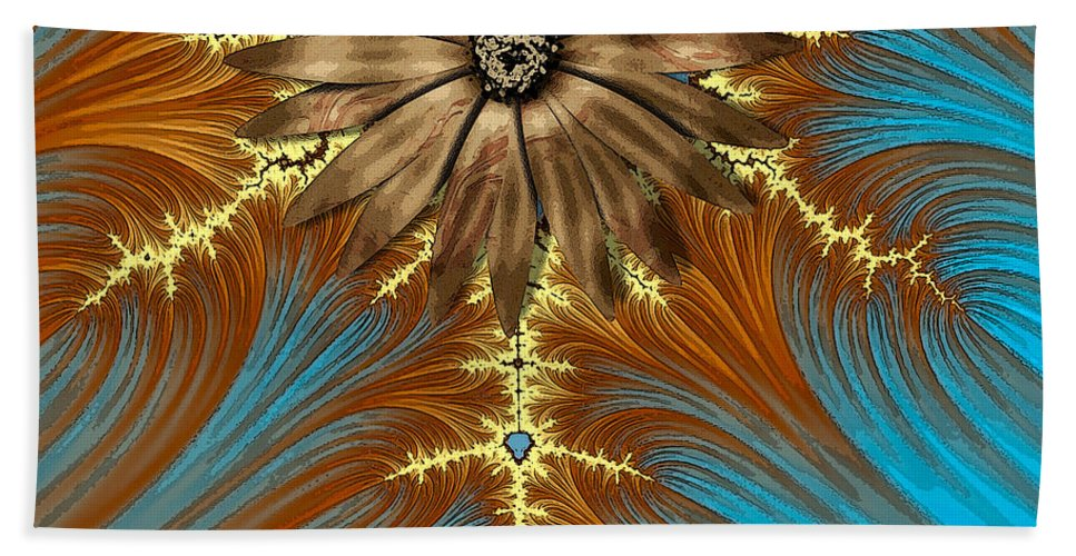 Fractal Hand Towel featuring the painting Blue And Brown Synergy by Saundra Myles