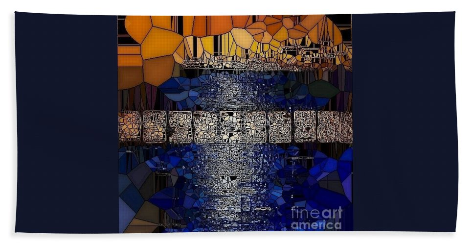 Blue And Gold Stained Abstract Bath Sheet featuring the painting Blue And Gold Stained Abstract by Saundra Myles