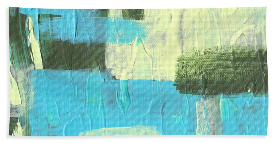 Blue Bath Sheet featuring the painting Blue And Green Abstract by Paulette B Wright
