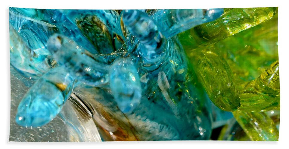 Blue Hand Towel featuring the photograph Blue And Green Glass Abstract by Olga Hamilton