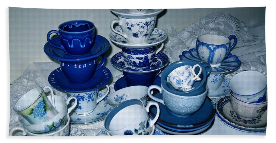 Collection Of Blue And White Tea Cups Bath Sheet featuring the photograph Blue And White by Nancy Patterson