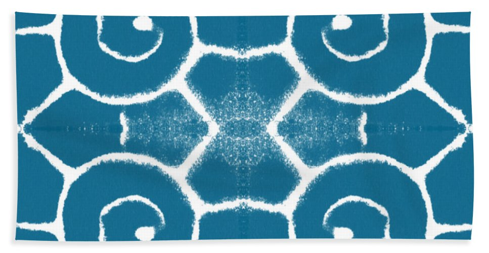 Wave Bath Towel featuring the painting Blue And White Wave Tile- Abstract Art by Linda Woods