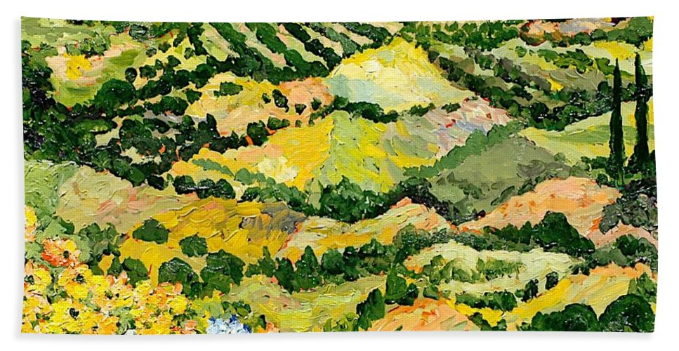 Landscape Bath Towel featuring the painting Blue And Yellow by Allan P Friedlander