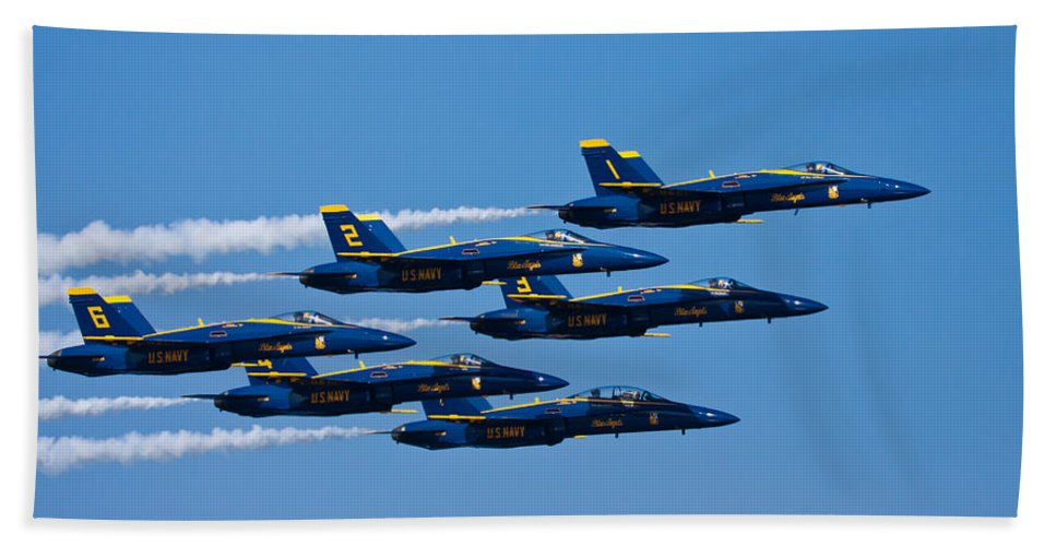 3scape Photos Bath Towel featuring the photograph Blue Angels by Adam Romanowicz