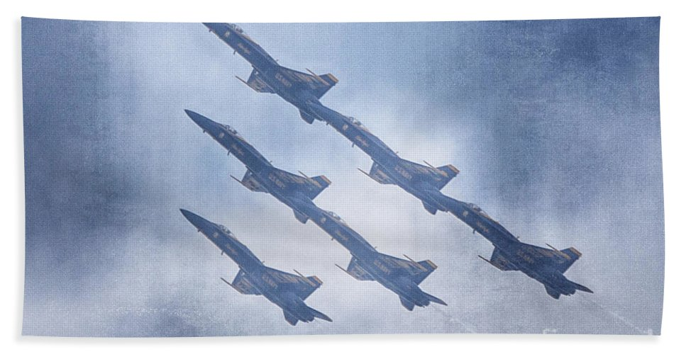 2014 Fort Worth Air Expo Hand Towel featuring the photograph Blue Angels Fa 18 V18 by Douglas Barnard