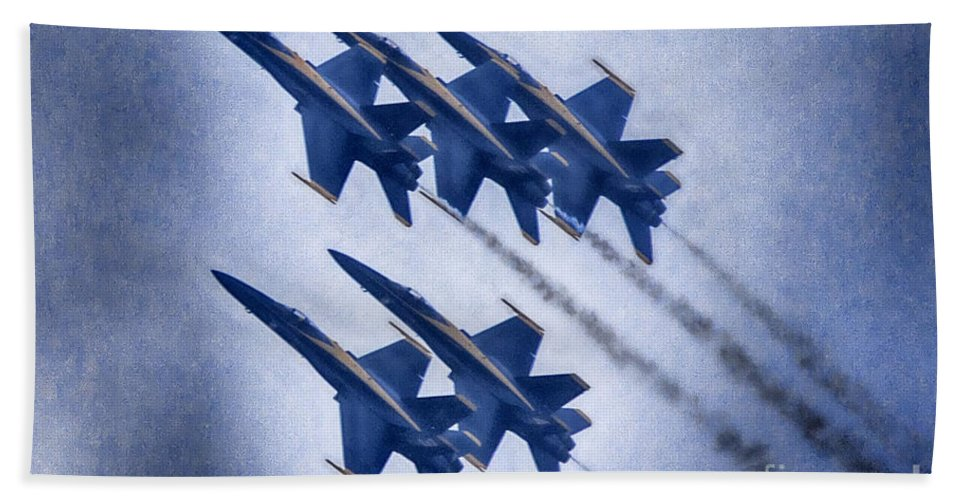 2014 Fort Worth Air Expo Hand Towel featuring the photograph Blue Angels Fa 18 V19 by Douglas Barnard