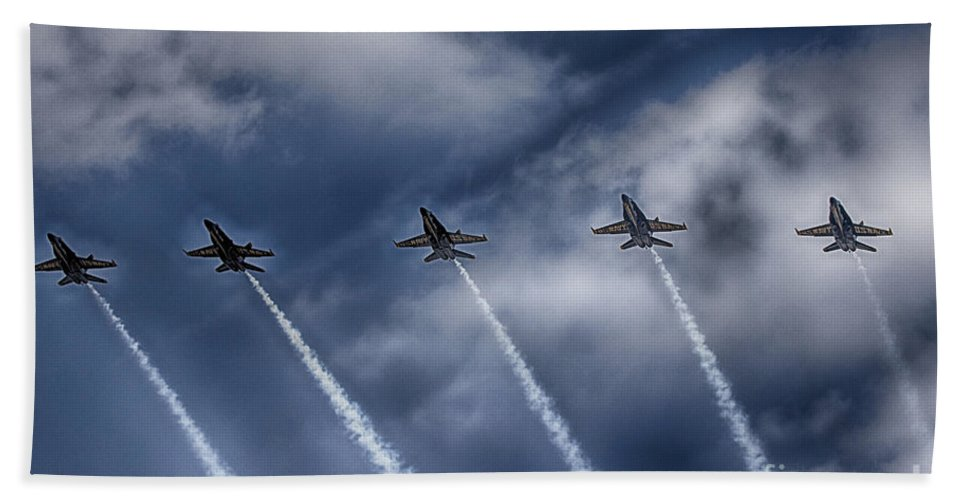 2014 Fort Worth Air Expo Hand Towel featuring the photograph Blue Angels Fa 18 V2 by Douglas Barnard