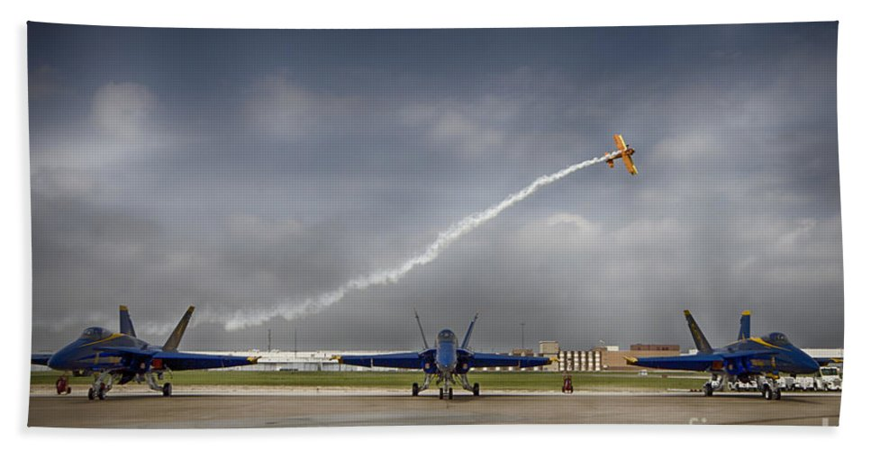 2014 Fort Worth Air Expo Hand Towel featuring the photograph Blue Angels Fa 18 With Grumman Biplane by Douglas Barnard