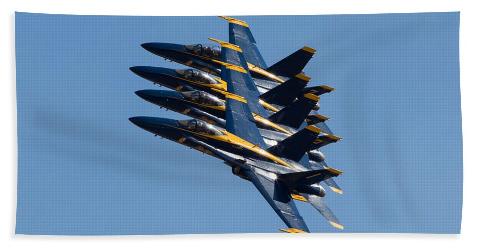 Blue Hand Towel featuring the photograph Blue Angels Line Abreast by John Daly