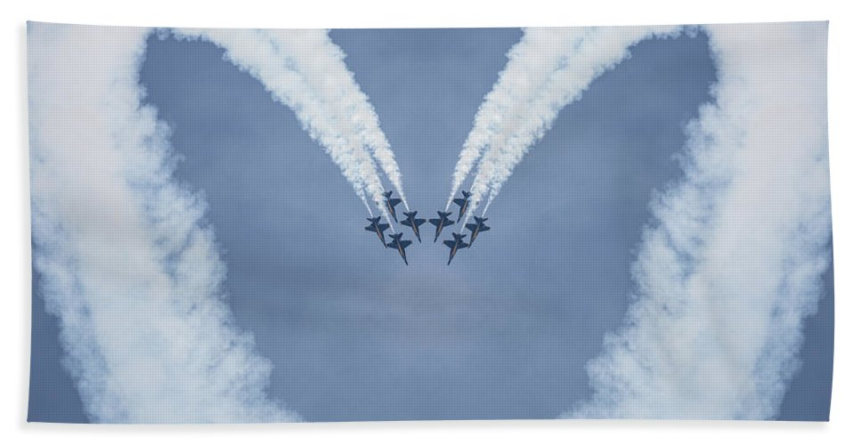 Blue Angels Love Hand Towel featuring the photograph Blue Angels Love by Dale Kincaid