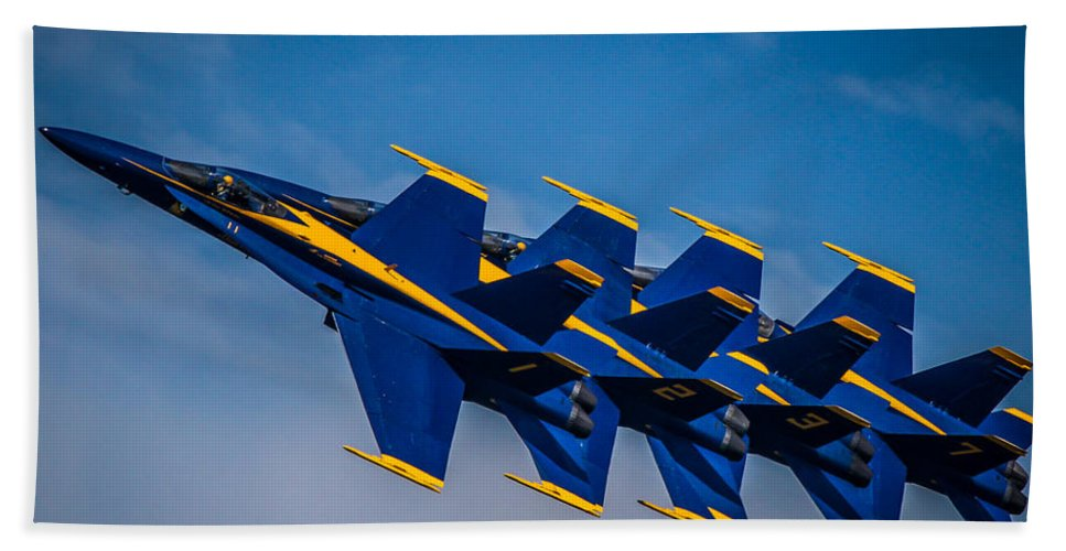 Blue Angels Hand Towel featuring the photograph Blue Angels Single File by Eleanor Abramson