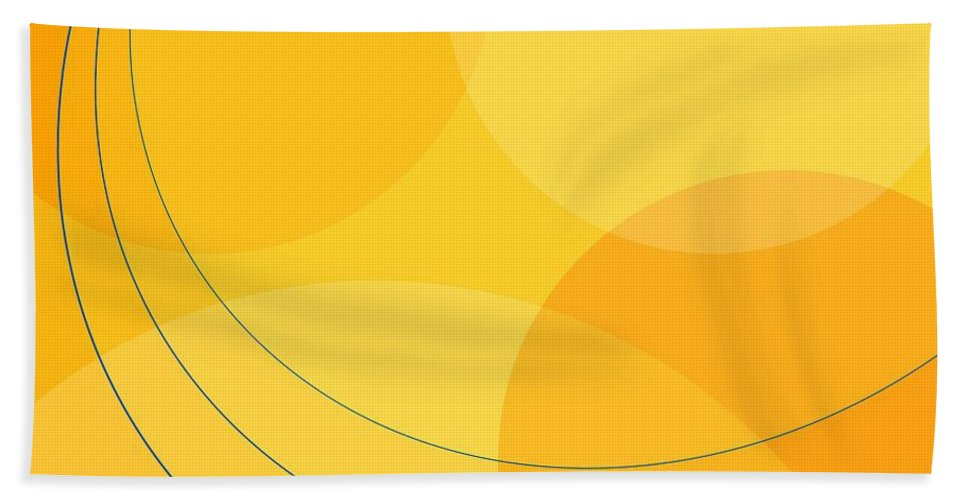 Abstract Bath Sheet featuring the digital art Blue Arcs Through Orange Landscape by James Kramer