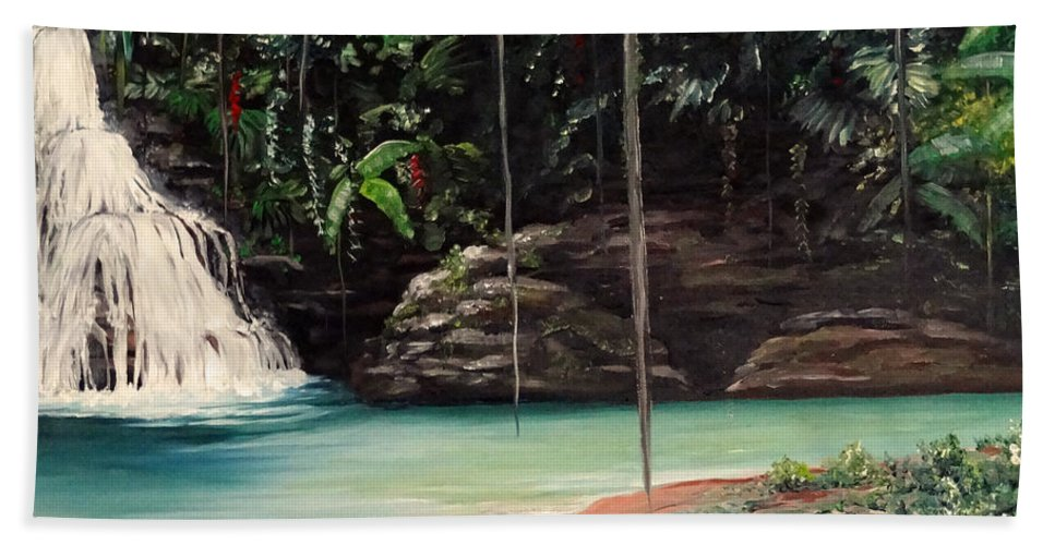 Tropical Waterfall Hand Towel featuring the painting Blue Basin by Karin Dawn Kelshall- Best