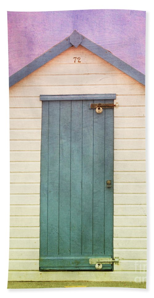 Beach Huts With Texture Hand Towel featuring the photograph Blue Beach Hut by Terri Waters