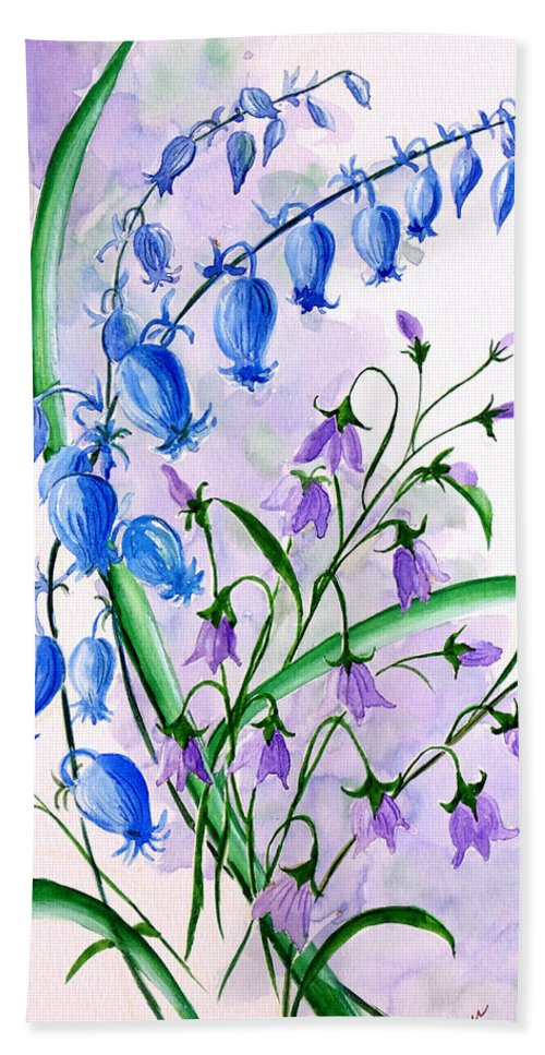Floral Hand Towel featuring the painting Blue bells 1 by Karin Dawn Kelshall- Best