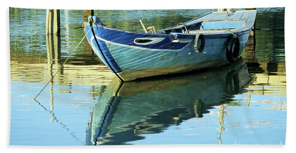 Vietnam Bath Sheet featuring the photograph Blue Boat 01 by Rick Piper Photography