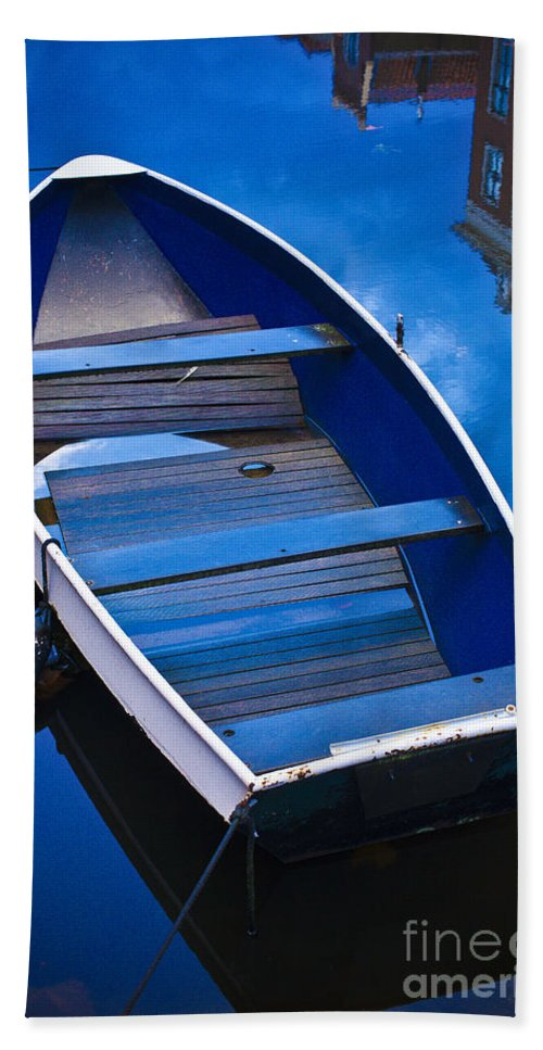 Boat Bath Sheet featuring the photograph Blue Boat by Casper Cammeraat