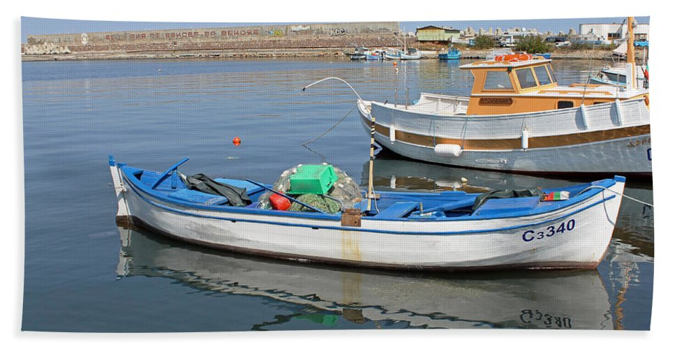 Blue Boat Hand Towel featuring the photograph Blue Boat In Sozopol Harbour by Tony Murtagh
