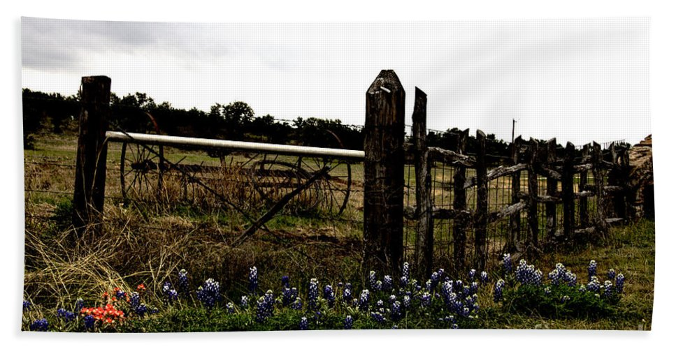 Wildflowers Hand Towel featuring the photograph Blue Bonnet Fence V4 by Douglas Barnard