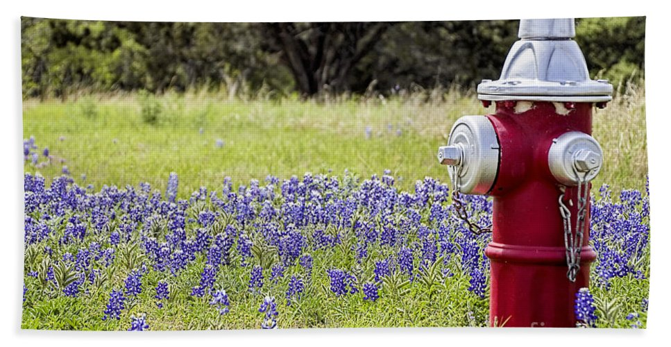 Wildflowers Hand Towel featuring the photograph Blue Bonnets Fire Hydrant V2 by Douglas Barnard