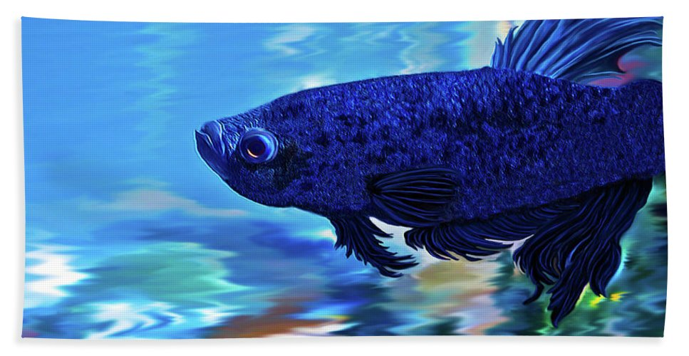 Fine Art Photography Bath Sheet featuring the painting Blue Boy by Patricia Griffin Brett