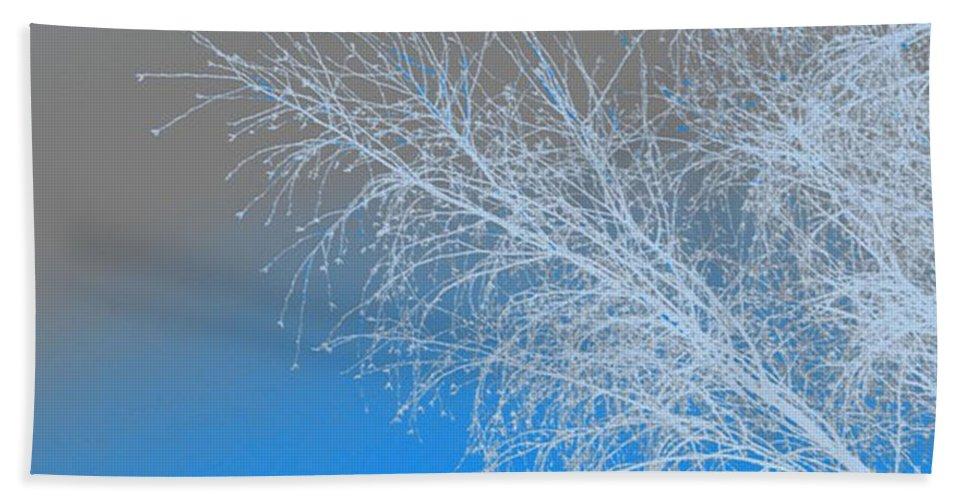 Blue Hand Towel featuring the digital art Blue Branches by Carol Lynch