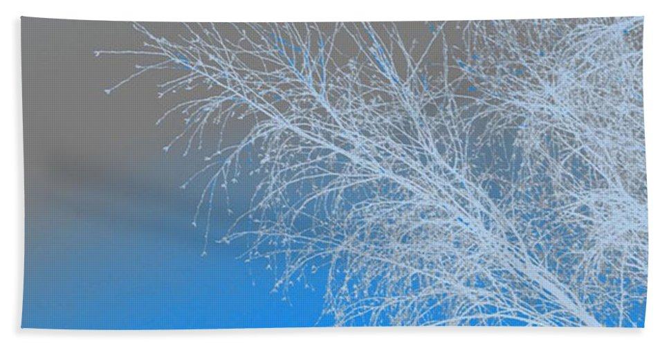 Blue Bath Sheet featuring the digital art Blue Branches by Carol Lynch