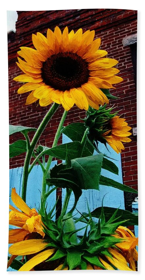 Sunflowers Hand Towel featuring the painting Blue Brick And Blaze by RC DeWinter